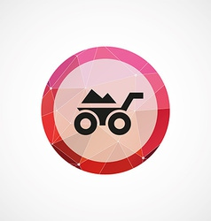 wheelbarrow circle pink triangle background icon vector image