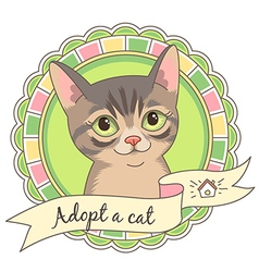 cartoon adopt cat vector image vector image