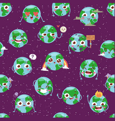 cartoon globe with emotion web icons green global vector image