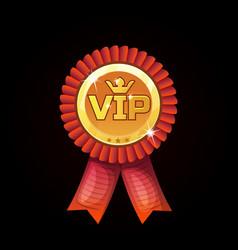 cartoon vip red award ribbons gold medal vector image