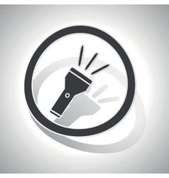 Flashlight sign sticker curved vector image
