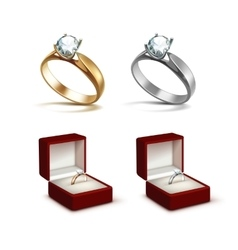 Gold and silver rings with diamond in jewelry box vector