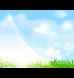 green field and sky background vector image