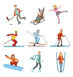 People Doing Winter Sports Set vector image
