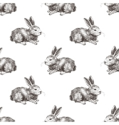 seamless pattern with hand drawn rabbit vector image