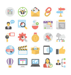 seo and digital marketing colored icons 3 vector image vector image