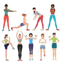 Sport fitness healthy girls set Women in vector image