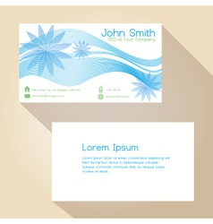 blue lines and flower simple business card design vector image vector image