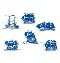 Blue tall ships or sailing ships vector image vector image