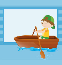border template with boy rowing boat vector image