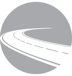 Logo with perspective of curved road vector image vector image