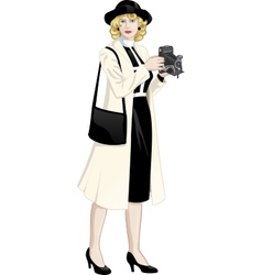 Retro character attractive caucasian woman vector image vector image