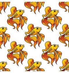 Seamless pattern of ornamental goldfish vector