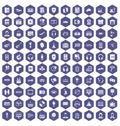 100 headphones icons hexagon purple vector image