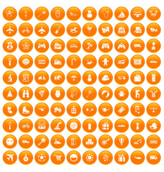 100 toys for kids icons set orange vector image