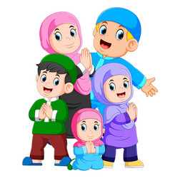 a muslim family are celebrating ied mubarak vector image