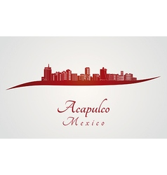 Acapulco skyline in red vector