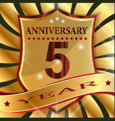Anniversary 5 th label with ribbon vector