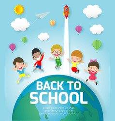 back to school banner background group of kids vector image