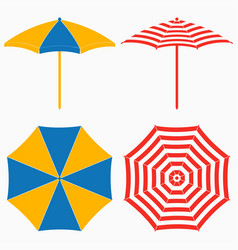 Beach umbrella top and side view vector