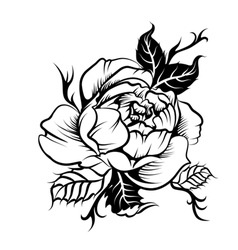 Beautiful peony flower in tatto style vector