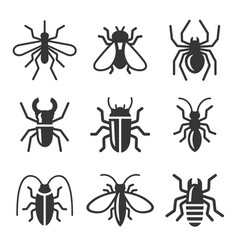 Beetle insect and bug icons set vector