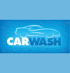 Blue background with water drop and car vector