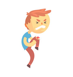 Boy character with wound on his knee cartoon vector