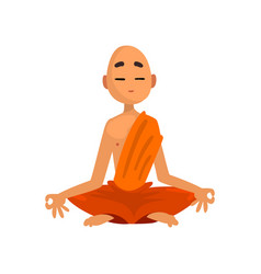 buddhist monk cartoon character meditating in vector image