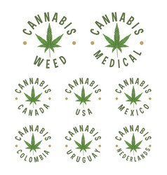 cannabis circle stamps vector image