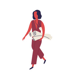Cartoon woman wearing badge holding paper roll vector
