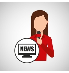 Character woman reporter news digital graphic vector