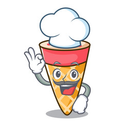 Chef ice cream tone character cartoon vector