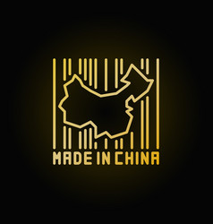 China map in barcode golden icon vector