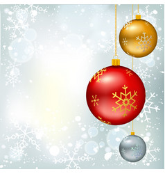 christmas balls on winter background vector image