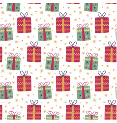christmas gift box decoration seamless pattern vector image