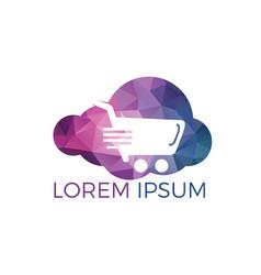 cloud shoping logo design vector image