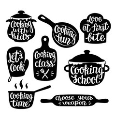 Collection of cooking label or logo vector
