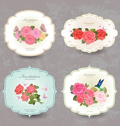 collection retro label with lovely roses vector image