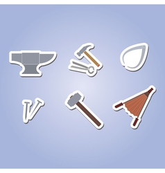 Color icon set with blacksmith tools vector