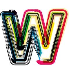 Colorful Grunge font LETTER W vector