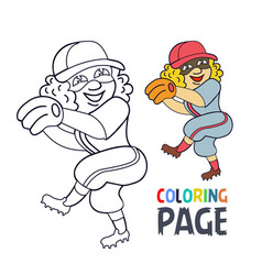 Coloring page with woman baseball player cartoon vector