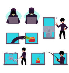 Computer hacker working on laptop stealing money vector