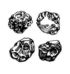 Cosmic celestial body iron meteorite set vector
