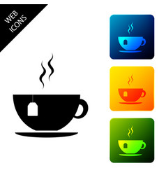 cup with tea bag icon isolated set icons colorful vector image