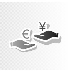 currency exchange from hand to hand euro and yen vector image