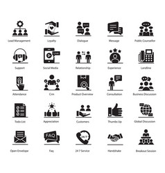 Customer relationship glyph pack vector