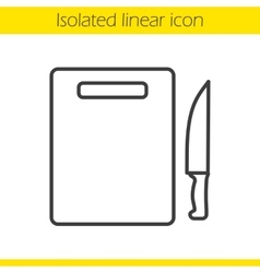 Cutting board with knife icon vector
