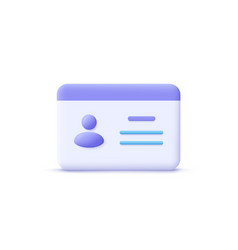 driver license id card plastic card badge icon 3d vector image