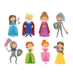 Fairy tale king queen knights and princesses vector